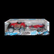 Carro de fricción estilo Jeep rojo 4x4 con remolque
