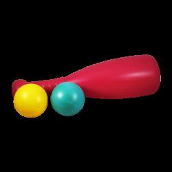 Bate estilo BamBam Rojo y Pelotas de Plástico